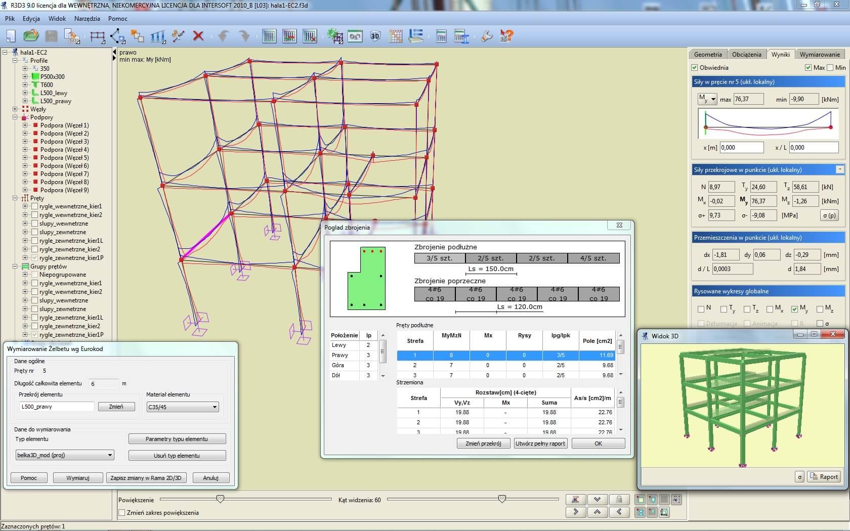 Program EuroŻelbet dla R3D3-Rama 3D