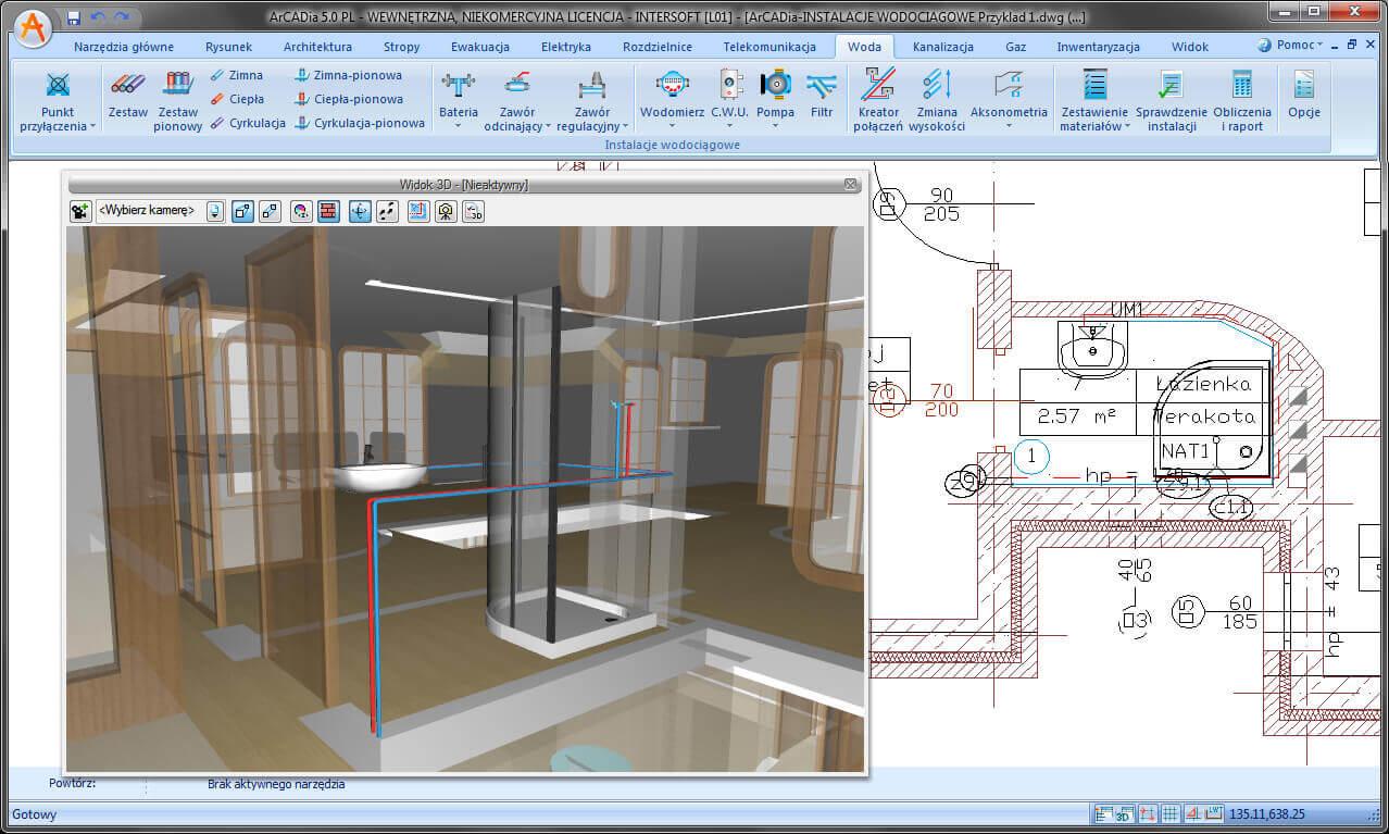 """Podgląd 3D na projekt budynku z instalacjami wodociągowymi"""" hspace="""