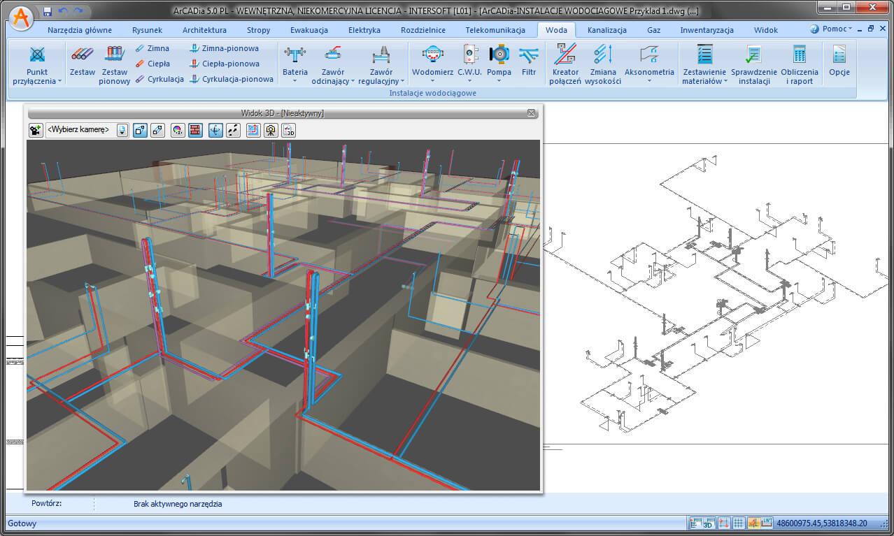 Podgląd 3D na projekt budynku z instalacjami wodociągowymi