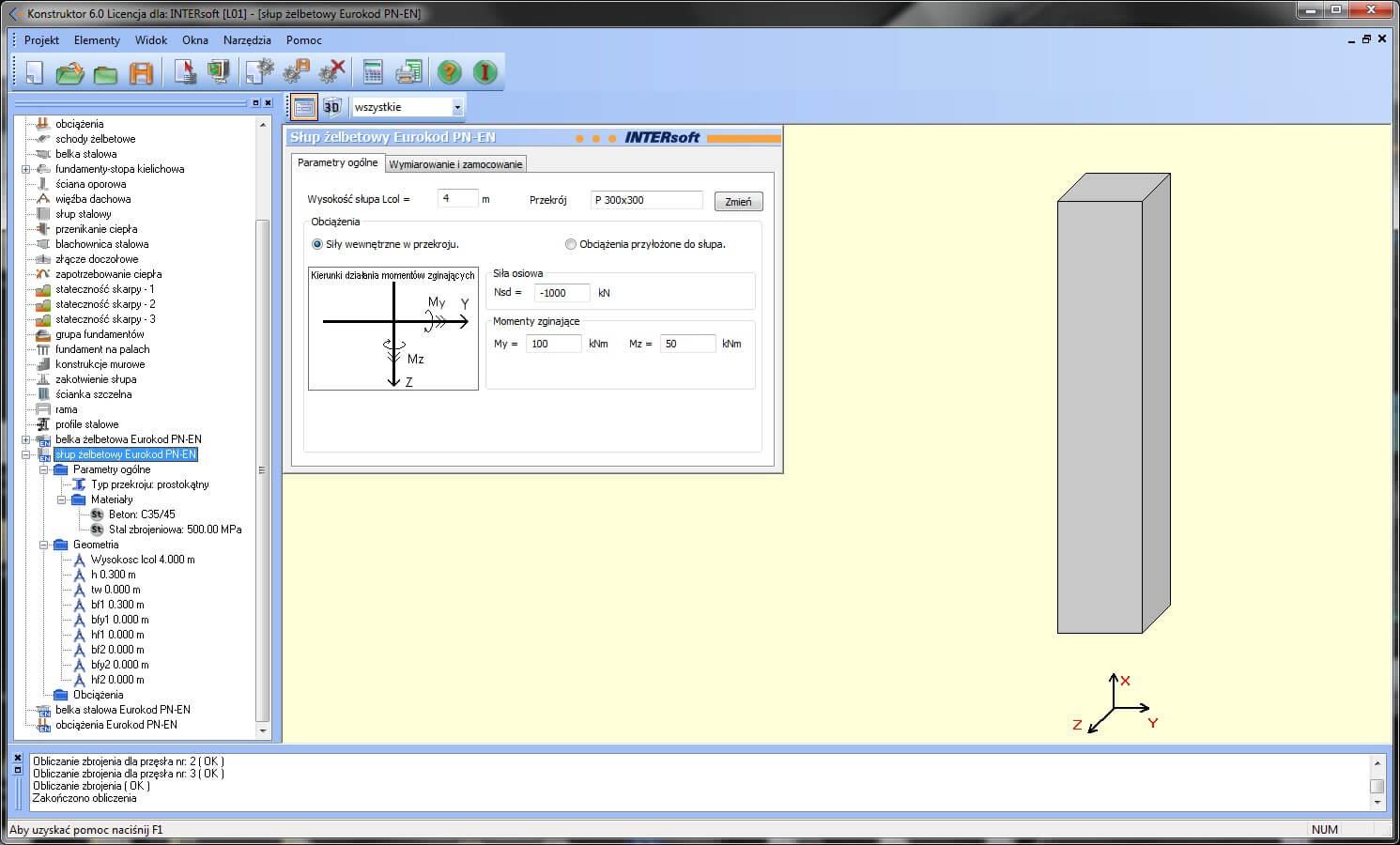Program Konstruktor - Słup żelbetowy Eurokod PN-EN