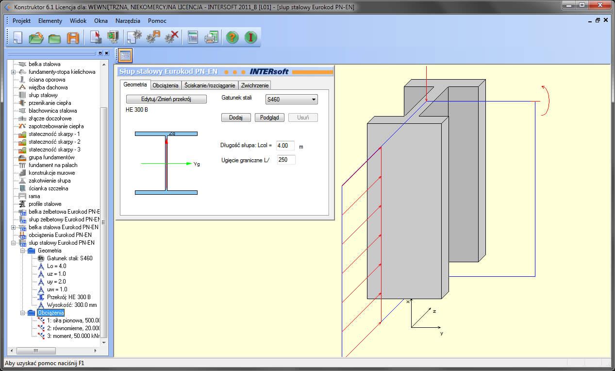 Program Konstruktor - Słup stalowy Eurokod PN-EN